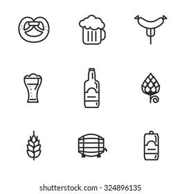 Beer icons (hop branch, wooden barrel, glass of beer, beer can, bottle cap, beer mug, barley). Oktoberfest background.
