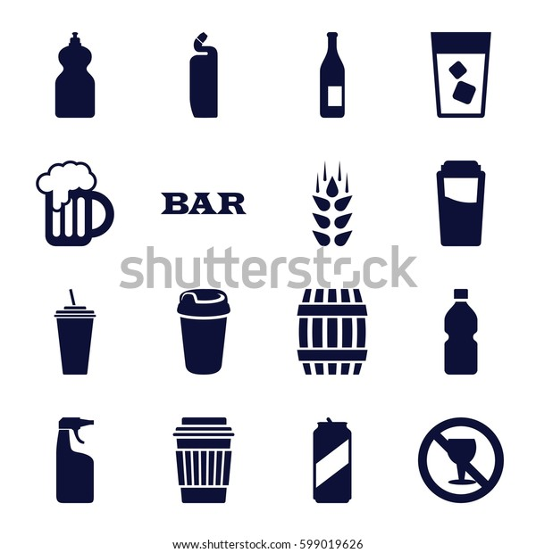 beer icons set. Set of 16 beer filled icons such as wheat, barrel, drink, Bar, cleanser, no alcohol