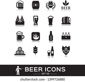 Beer icons set 2, black solid style. Icon of alcohol, bottle beer, glass, mug, beverage. Signs and symbols for pub, restaurant,  beer festival. Vector collection.
