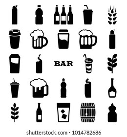 Beer icons. set of 25 editable filled beer icons such as wheat, drink, bar, cleanser, beer mug, bottle