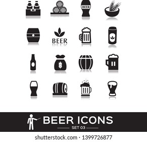 Beer icons set 3, black solid style. Icon of alcohol, bottle beer, glass, mug, beverage. Signs and symbols for pub, restaurant,  beer festival. Vector collection.