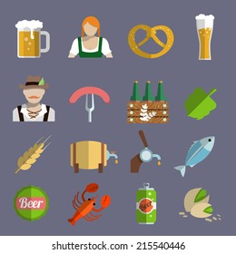 Beer icons set with barrel glass and fork with sausage isolated vector illustration