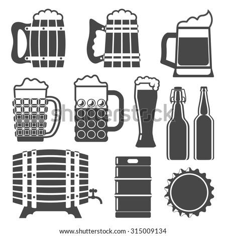 Beer Icons Set Glass Mug Wooden Barrel Bottle Cap Bottles Keg Template Vector Illustration