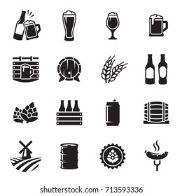 Beer icons set. Vector, black on a white background