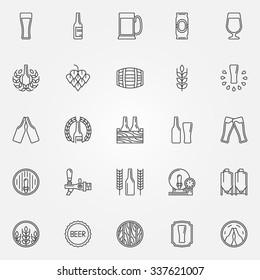 Beer icons set - vector line symbols of bottle, glass, mug or pub logo elements