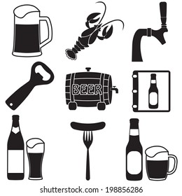Beer icons set. Vector symbols and design elements for restaurant, pub or cafe.