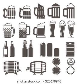 beer icons set. Wooden barrel, glass, can, bottle cap,  mug,  bottles, keg. vector illustration.