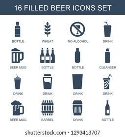 beer icons. Trendy 16 beer icons. Contain icons such as bottle, wheat, no alcohol, drink, beer mug, cleanser, barrel. icon for web and mobile.