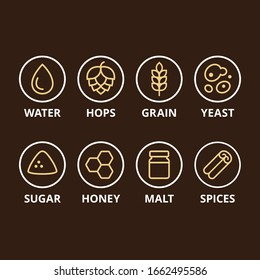 Beer ingredient icons. Basic ingredients like hops, grain and yeast, and optional add-ins. Homebrewing, craft beer making symbol set.