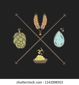 beer ingredients, hops, malt, yeast, water