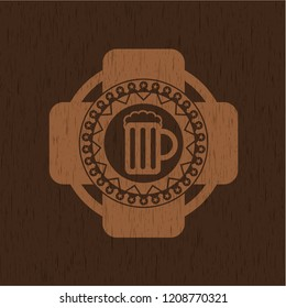 beer jar icon inside badge with wood background