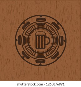 beer jar icon inside vintage wood emblem