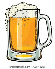 Beer jug cartoon image. Artistic freehand drawing.