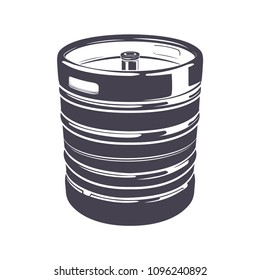 Beer keg isolated on the white background, monochrome style, vector