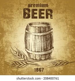 beer keg  for label, package.vintage barrel . wheat ear