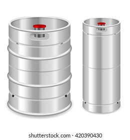 Beer keg set on a white background.