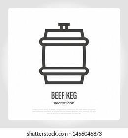 Beer keg thin line icon. Vector illustration of barrel.