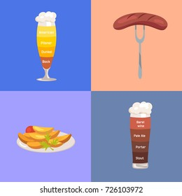 Beer kinds such as american, dunkel, pilsner or bock, barrel wine, pale ale, porter and stout and food represented on vector illustration