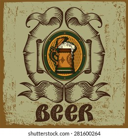 Beer label for brewery with old beer mug and text.Vintage style.