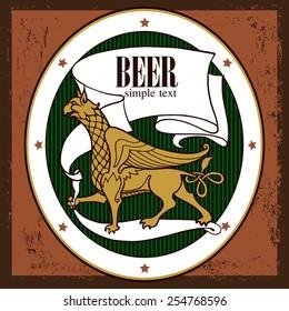 Beer label design with griffin. Beer design. Label contains images of griffin, beer label pattern on vintage background.
