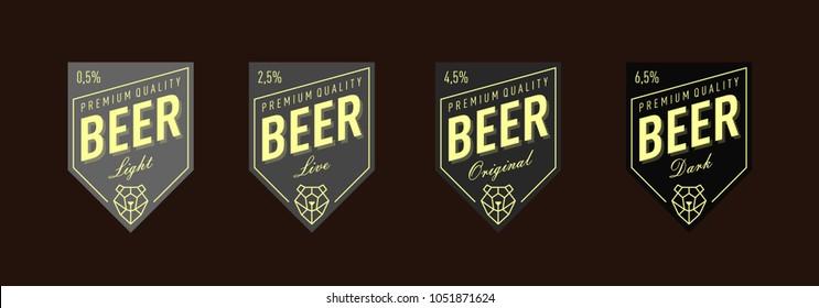 Beer Label Design. set. Label for live, original, light, dark beer.