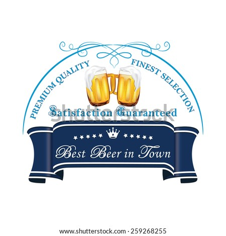 Beer Label On A Blue Ribbon Printable Mugs Vector