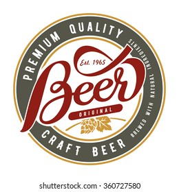 Beer label on a white background. Lettering collection.