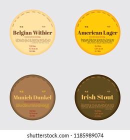 Beer label set. Lager, Stout, Dunkel, Witbier.