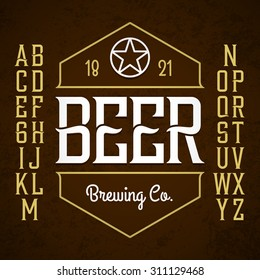 Beer label style font with sample design. Vector.