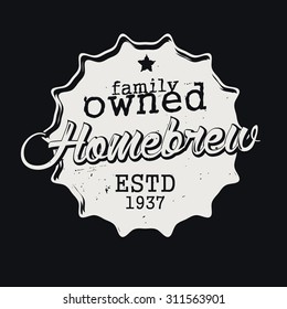 "Beer label stylized for beer cap, ""homebrew"" text. Vector sign."
