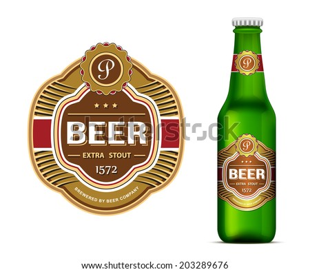 beer label template green beer bottle のベクター画像素材