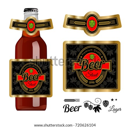 Beer Label Template Neck Label Stout Stock Vector Royalty Free