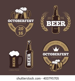 Beer label templates for  brewing company, pub bar and logo. icon beverage bottle for Oktoberfest. Vector illustration