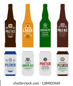 Beer labels, bottle and can mockup templates. Pale ale, pilsner, lager, stout, porter and amber ale labels. Brewing company branding and identity design elements.