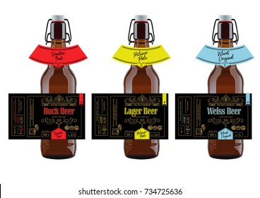 Beer Labels and neck labels on brown bottles.