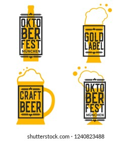 Beer Labels set isolated on white.Octoberfest.Vector illustration.