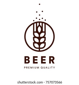 Beer line art label. Brewery emblem. Craft beer vector logo. Premium quality ale, alkohol drink logotype.
