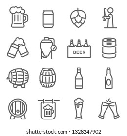 Beer Line Icon Set. Contains such Icons as Craft Beer, Tank, Hops and more. Expanded Stroke