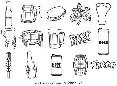 beer line icons set (hop branch, wooden barrel, hand holding glass, can, bottle cap, mug, bottle)