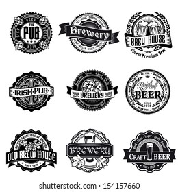 beer logo label vintage vector pub emblem retro brewery badge retro series styled mark of brew okay as a pattern of promotion beer logo label vintage vector pub emblem retro brewery badge classic frot