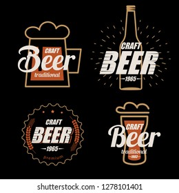 Beer logo template collection, set of emblems on dark background