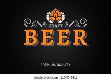 beer logo with vintage floral ornates on black background