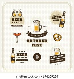 Beer logo vintage isolated label set vector illustration. Brewing company symbols. Pub of craft beer logo premium quality. Oktoberfest beer logo.
