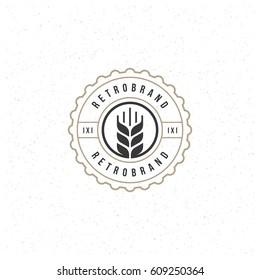 Beer Logotype Design Element in Vintage Style Badge Retro vector illustration. Ear symbol.