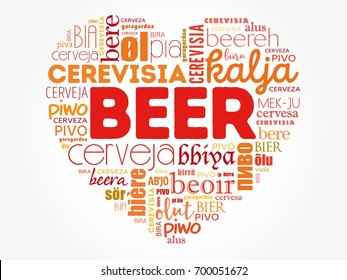 BEER love heart in different languages of the world (english, french, german, etc), Word Cloud collage, multilingual background