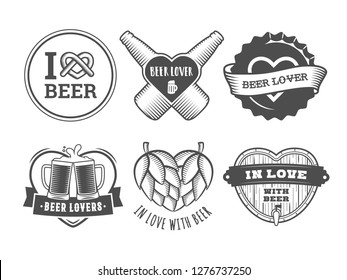 Beer lover badges. Valentines day craft beer logos. Vector vintage stickers with hearts, bottles, mugs for bar or pub.