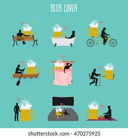 beer lover set. Love of malt mug collection. Man and alcohol in movie theater. Lovers in bath. Romantic rendezvous with drink. Boating feed. Joint walk. Cycling tandem. Breakfast in cafe. Picnic park