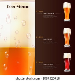 Beer menu flyer template with realistic glasses of beer. Vector illustration
