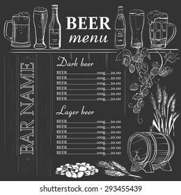 Beer menu hand drawn on chalkboard, excellent vector illustration, EPS 10