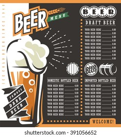 Beer menu retro design template. Pub price list with famous dark beer.